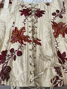 Fabulous Jane Woolrich 100% Pure Silk Floral Embroidered Boned Corset Size M