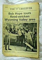 Vintage 1972 Local Newspaper Bob Hope Tours Flood Stricken Wyoming Valley PA