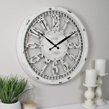 "20"" Wall Clock Antique Round Large Hanging Distressed White Rustic Farmhouse"