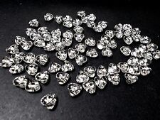 300pcs 8mm Acrylic HEART with Silver Sparkle / Glitter Beads - CLEAR Transparent