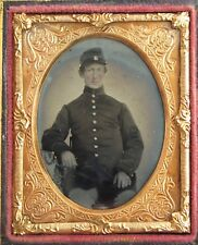 American Civil War Union soldier ambrotype portrait in leather case.