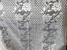 "WHITE SILKY FLORAL SHEEN NET CAFE CURTAIN 72"" WIDE X 24.5"" DROP GREAT CONDITION"