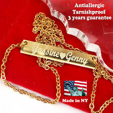 Personalized Bar Necklace Name Pendant 18k Gold Plated Custom Made Any Name