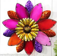 "19"" Diameter Painted Stained Glass and Iron Flower Desgin Wall Decor Piece NEW"