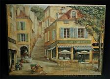 Framed Restaurant Cafe De La Place Print by Fabrice De Villenueve