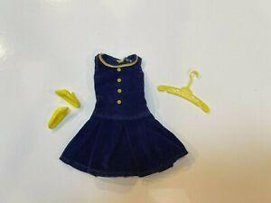 Vintage Francie Barbie doll Blue Velvet Pleat Neat dress Rare