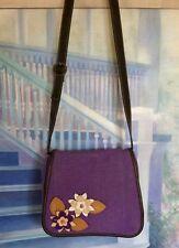 Vintage Purple Liz Claiborne Shoulder Bag Purse Canvass Floral Embellishments