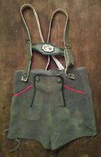 "VINTAGE LEDERHOSEN BOYS LEATHER SUSPENDERS Costume 25"" Waist"