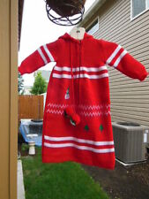 Vintage Nortstroms Red Knit Baby Bunting Christmas Size NB to 3M  Made In Spain