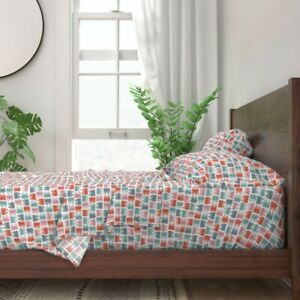Pink Grey Geometric Abstract Mint 100% Cotton Sateen Sheet Set by Spoonflower