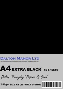 DALTON MANOR A4 EXTRA BLACK CARD 240gm  DOUBLE SIDED CHOICE OF PACK SIZES