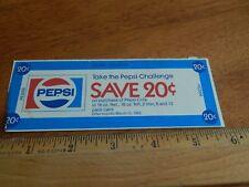 "'80s ""Take The Pepsi Challenge"" Store Coupon SAVE 20c ""Mr. Retailer"" Vtg Promo"
