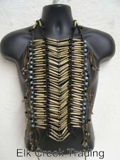 HAND CRAFTED NATIVE AMERICAN STYLE REGALIA HAIRPIPE ANTIQUE/BLUE BREASTPLATE