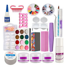 Pro Full Acrylic Powder Liquid French Nail Art Brush Glue UV Gel Tip Kit Set 189