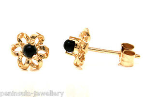 9ct Gold Black Onyx Studs Daisy Flower Small Earrings Made in UK Gift Boxed