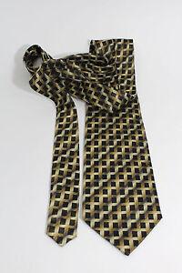 "Bardelli Roma Dimensional Look Gold and Black 100% Silk Neck Tie 58"" x 4"""