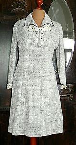 Gr. 46/48 - True Vintage 70er – Kleid - Langarm - Schleife - Sekretärin