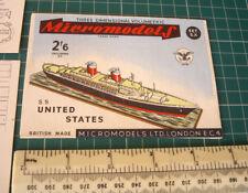 1953 Vintage Micromodels SX (S10) LE PAQUEBOT SS UNITED STATES. Découpe Carte Kit