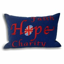 UNION JACK FAITH HOPE EMBROIDERED 100% COTTON BLUE FILLED CUSHION 35 X 50CM