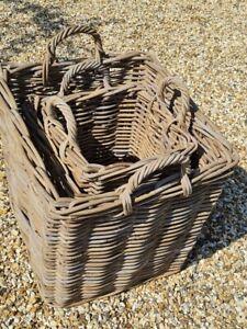Log Basket Grey Rattan Strong Rectangle Storage Kindling