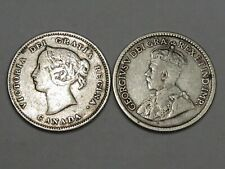 2 Canadian Silver Five Cent Coin: 1899 Victoria & 1918 George V.  #153