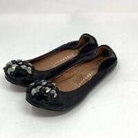 Jeffrey Campbell Ibiza Last Ballet Flat Size 7 Black Leather W/Embellished Toe
