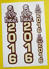 Motorbike DAKAR 2016 Rally Plate style FORK Stickers ideal for KTM BMW etc