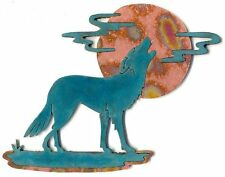 """COPPERCUTTS Wolf with Moon & Clouds Plaque 6.5"""" x 8.5"""" SouthWest Rustic Copper"""