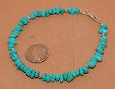 "Sterling Silver and 5-8mm Kingman Turquoise Bracelet 8 1/2"" (11475)"