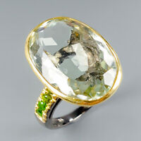 Vintage28ct+ Natural Green Amethyst 925 Sterling Silver Ring Size 7.75/R116907