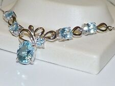 GENUINE! 9.49tcw African Sky Blue Topaz, Necklace, Solid Sterling Silver 925!