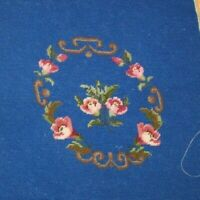 Flowers Pink Wild Roses Needlepoint Completed Finished Wool Bench Seat Blue
