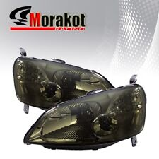 For 01-03 Honda Civic 2 Door Smoke Headlights HeadLamps Clear Corner Reflector