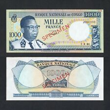 1964 CONGO 1,000 1000 FRANCS J000000 P-8As aUNC> > >JOSEPH KASAVUBU SPECIMEN NR