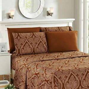 6 Piece Bed Sheets Deep Pocket Egyptian Comfort 1800 Series Printed Sheet Set