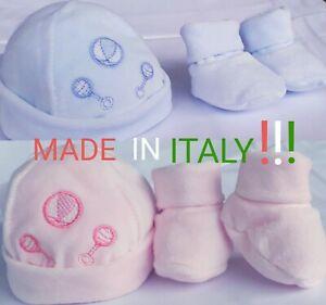 Babbucce e cappellino CINIGLIA neonati!! ciliegina MADE IN ITALY!! Art. 200/03