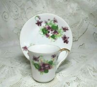 VINTAGE NORCREST FINE CHINA PURPLE FLOWER TEA CUP MADE IN JAPAN