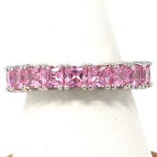 Gorgeous Princess Pink Sapphire Paved Band Ring Women Anniversary Jewelry Gift