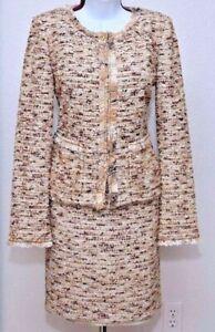NWT ST.JOHN Womens Beige Brown Boucle Knit Seguin Trim  Zip Jacket & Skirt Sz 2