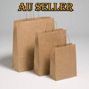 Bulk 1-100pcs KRAFT Brown Paper Carry Bags Handle Die Cut Handle Shopping Bags