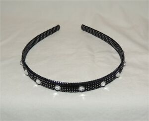 Ladies/Girls Silver Metallic Glitter Headband w/Rhinestone Crystals (New)