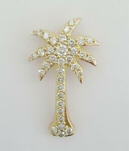 14K Rose Gold 1.25 ct Round Brilliant Cut Diamond Palm Tree Pendant 6 grams 33mm