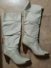 Zodiac Womens Vintage White Leather Slouch Boots - 8M