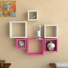 New Wooden Square Shape Wall Shelf Shelves Set Of 6 Multi-Color
