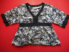 Oh! Mamma Maternity Navy Blue Floral Blouse 3/4 Sleeve Size Large L