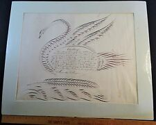 SUPER - American Folk Art HUGE Calligraphic Swan Bird Penmanship ca 1850s Famous
