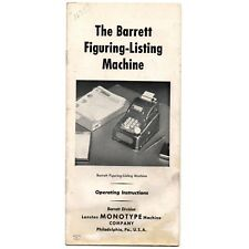 BARRETT FIGURING LISTING MACHINE INSTRUCTION MANUAL Adding Calculator Antique