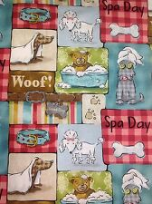 Fat Quarter Pampered Pooch Collection Spa Day Collage Cotton Quilting Fabric