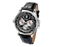 Sekonda Men's World Time Watch Black Dial Leather Strap Date Day 24h Display New