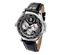 Sekonda Men's World Time Orologio Quadrante Nero Cinturino in Pelle Data Giorno Display 24 H NUOVO